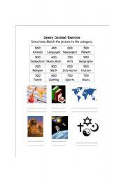 English Worksheets: Dewey Decimal System Exercise