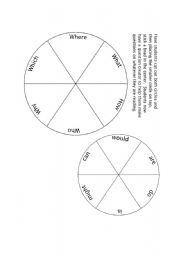 English Worksheet: Question Spinner