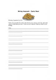 English Worksheets: Writing Prompts about Cookies