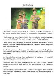English Worksheet: Loy Krathong Festival, Thailand