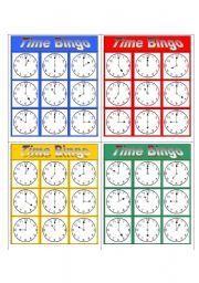 English Worksheet: Simple Bingo (3x3) - Time