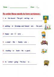 English Worksheets: re-order fun