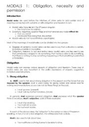 English Worksheet: Modals: Obligation, necessity and permission