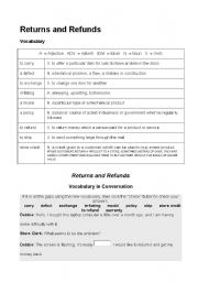 English Worksheets: return and refunds