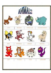 English Worksheets: funny animals