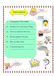 English Worksheets: make negetives