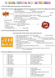 English Worksheets: COMICS Part 4 of 5 - More activities on sounds and movements (with key)