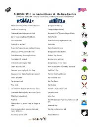 English Worksheet: Springtime in Ancient Rome & Modern America