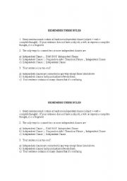 English Worksheets: Rules for writing clear sentences (no fragments, run-ons, etc)