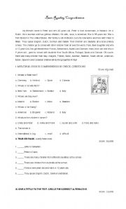 English Worksheets: A family reading comprehension