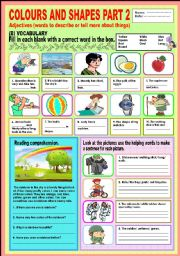 English Worksheet: Colours and shapes Part 2