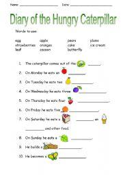 English Worksheet: Hungry Caterpillar