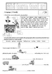English Worksheets: family, hobbies and daily routines