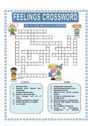 All these worksheets and activities for teaching feelings crossword