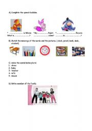 English Worksheets: revision of family, classrom objects and greetings
