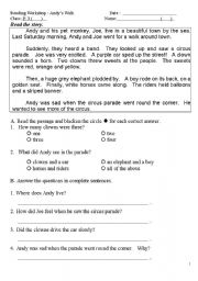 English Worksheets: Andy�s Walk