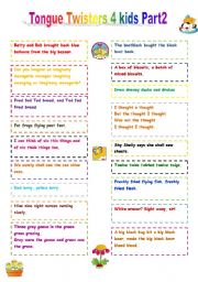 English Worksheet: Tongue Twisters for kids - Part 2