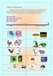 English Worksheets: animal activity