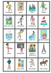 English Worksheets: Action Verbs Cards 2 + Greyscale version