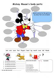English Worksheets: Mickey�s Body Parts