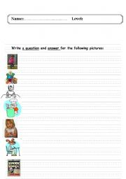 English Worksheets: write a question and answer for the following pictures: