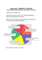 English Worksheets: reading spinner 9 of 9 - focus on reading with expression and character