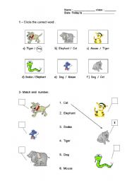 English Worksheets: Animals reading words