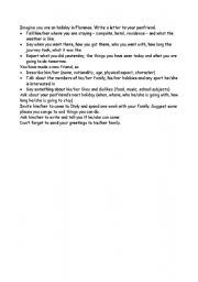 English Worksheets: outline for a letter from a holiday