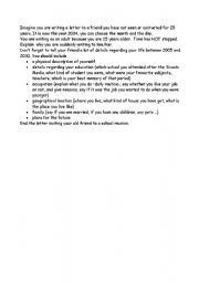 English Worksheets: outline for a letter to a frind you have not seen for 25 years
