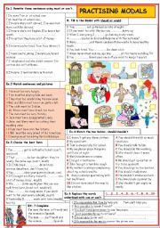 English Worksheets: Practising  MODALS