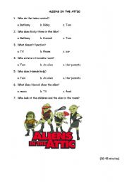 English Worksheets: aliens in the attic 30 to 45 minutes