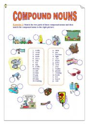 English Worksheets: Compound Nouns. 2 Pages Exercises (Matching and Fill in the gaps) + KEY