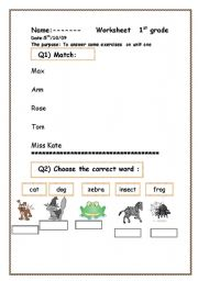 English Worksheets: a useful w. for beginners