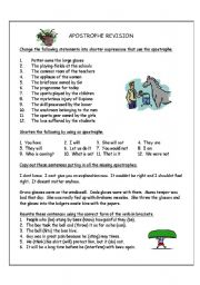 English Worksheet: Apostrophe revision
