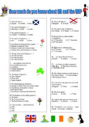 English Worksheet: GB and the UK - Quizz (05.10.09)