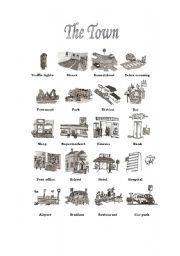 english worksheets town vocabulary. Black Bedroom Furniture Sets. Home Design Ideas