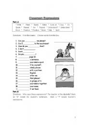 English Worksheets: Classroom expressions