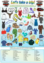 English Worksheet: Let�s take a trip! - (clothes, shoes & accessories) - Vocabulary, writing & conversation - 2 pages - fully editable