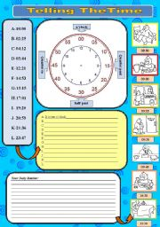 English Worksheet: TELLING THE TIME and DAILY ROUTINE