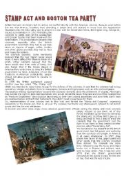English Worksheet: Stamp Act a nd Boston Tea Party