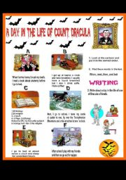 English Worksheets: A day in the life of count Dracula