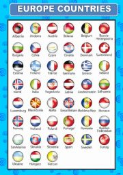 English Worksheet: EUROPE COUNTRIES FLAGS