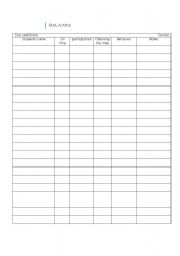 English worksheet: classroom record