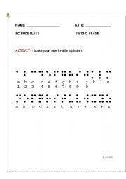 English Worksheets: Braille activity