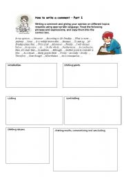 English Worksheets: Two worksheets with key: How to write a comment