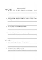 English Worksheets: Recycing Critical Thinking Questions