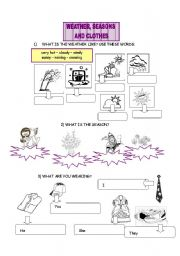 English Worksheet: WEATHER, SEASONS AND CLOTHES