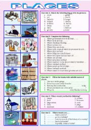 English Worksheets: PLACES - Understanding WHERE you would find certain people & things & Matching the places with their pictures - (( 5 separate exercises to complete)) - Elementary/intermediate - ((B&W VERSION INCLUDED))