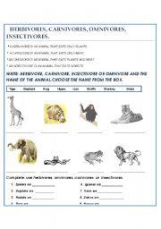 English Worksheets: HERBIVORES VS. CARNIVORES