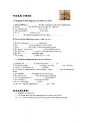 English Worksheets: BE PAST FOCUS ON MANAGEMENT